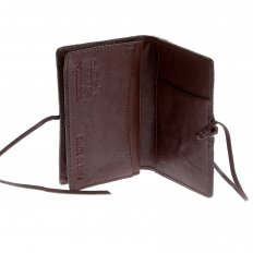 Mens Brown Leather/Horse Hair Card Holder with Shoe Lace Lie Closure