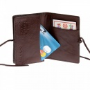 RMC JEANS Mens Brown Leather/Horse Hair Card Holder with Shoe Lace Lie Closure