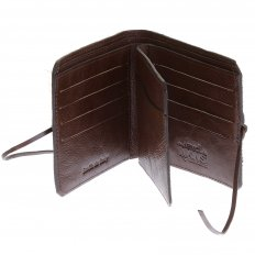 Mens Brown Leather/Horse Hair Wallet with Shoe Lace Tie Closure