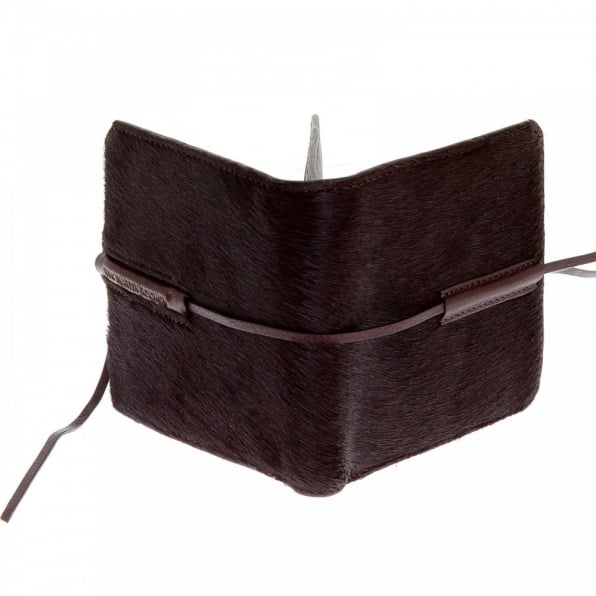 RMC JEANS Mens Brown Leather/Horse Hair Wallet with Shoe Lace Tie Closure