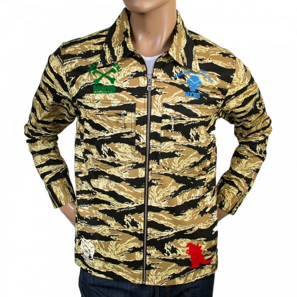 RMC JEANS Mens Camo Sand Zipped Regular Fit Cotton Jacket