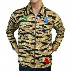 Mens Camo Sand Zipped Regular Fit Cotton Jacket