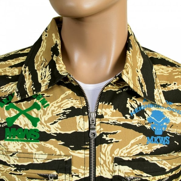 RMC JEANS Mens Camo Sand Zipped Regular Fit Cotton Jacket