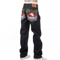 Mens Cotton Dark Indigo Raw Denim Jeans with Slimmer Cut