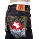 RMC JEANS Mens Cotton Dark Indigo Raw Denim Jeans with Slimmer Cut