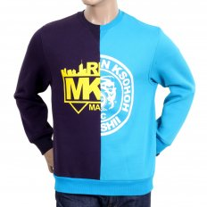 Mens Cotton Purple and Blue Crew Neck Sweatshirt