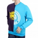 RMC JEANS Mens Cotton Purple and Blue Crew Neck Sweatshirt