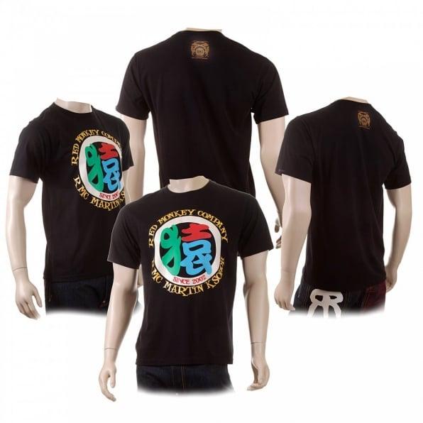 RMC JEANS Mens Crew Neck Regular Fit Short Sleeve T-shirt in Black