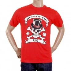 Mens Crew Neck Short sleeve Regular Fit T-shirt in Red with Smoking Skull