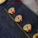RMC JEANS Mens Custom Made Blue Sapphire and Ruby 5 Button Set