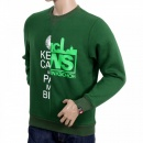 RMC JEANS Mens Custom Made Green Crew Neck Cotton Sweatshirt with Mixed Printed Logo