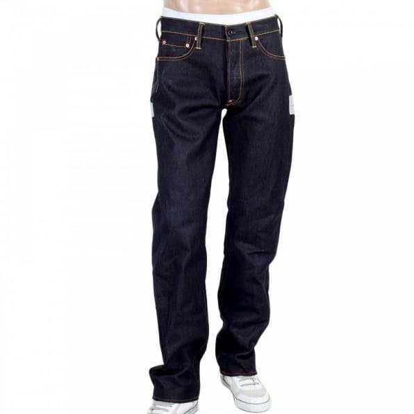 RMC JEANS Mens Dark indigo Japan selvedge raw denim jean