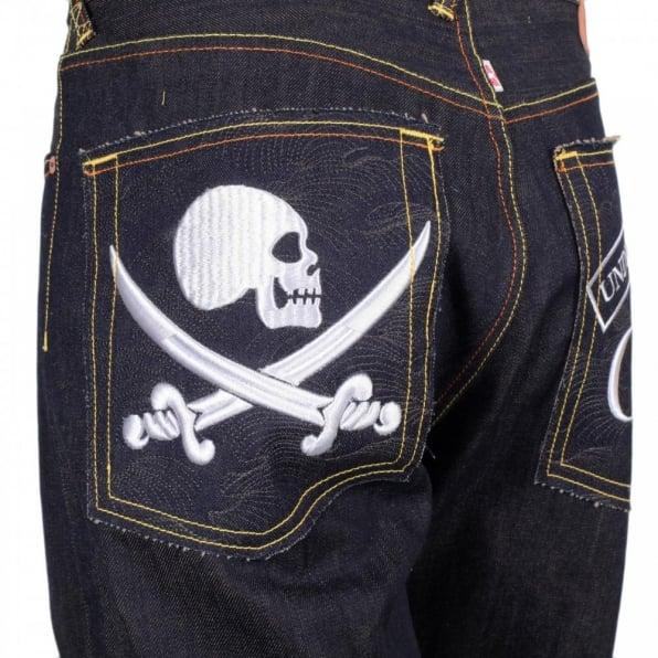 RMC JEANS Mens Dark Indigo Raw Denim Japanese Selvedge Jean with Skull Underground GB Embroidery
