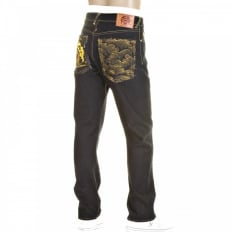 Mens Dark Indigo Slim Cut Raw Denim Jeans with Super Exclusive Design