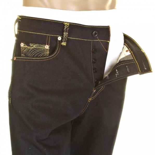 RMC JEANS Mens Dark Indigo Slim Cut Raw Denim Jeans with Super Exclusive Design