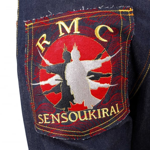 RMC JEANS Mens Dark Indigo Vintage Cut Raw Selvedge Denim Jeans with Sensoukirai Embroidery