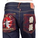 RMC JEANS Mens Dark Indigo Vintage Cut Raw Selvedge Denim Jeans with Sensoukirai Embroidery