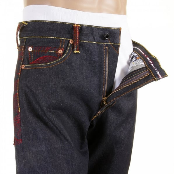 RMC JEANS Mens Denim Jean with Red Tsunami Wave Embroidered on Full Back