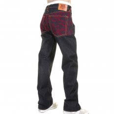 Mens Denim Jean with Red Tsunami Wave Embroidered on Full Back
