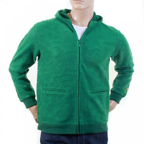 RMC JEANS Mens Emerald Green Tsunami Wave Large Fitting Hooded Zipped Sweatshirt