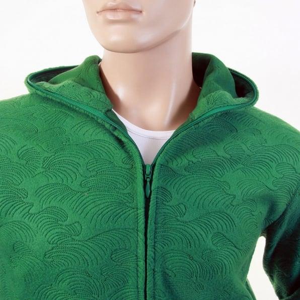 RMC JEANS Mens Emerald Green Tsunami Wave Large Fitting Hooded Zipped Sweatshirt