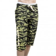 Mens Green Camo Pattern Cotton Jersey Short