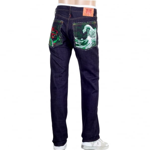 RMC JEANS Mens Green Dragon and Tsunami Wave Embroidered 1011 Slimmer Model RQP14121 Selvedge Denim Jeans