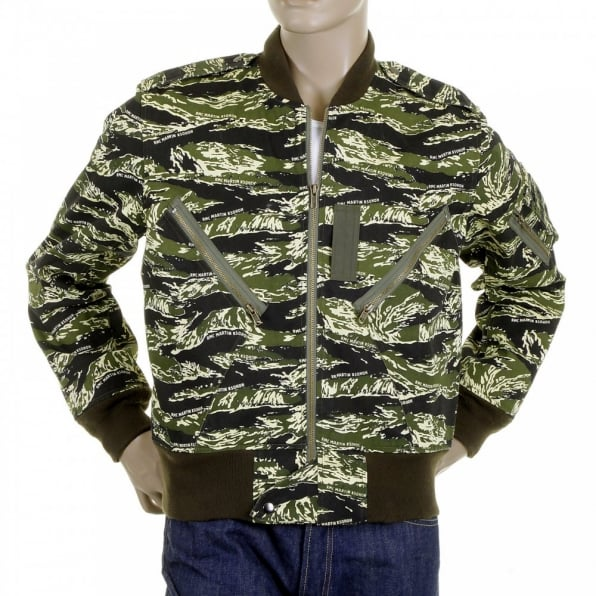 RMC JEANS Mens Green Zip Up Regular Fit Camo Bomber Jacket