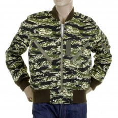 Mens Green Zip Up Regular Fit Camo Bomber Jacket
