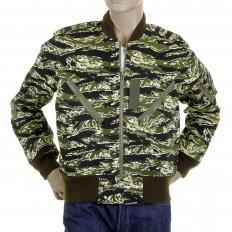 Mens Green Zip Up Regular Fit Camo Bomber Jacket