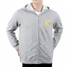 Mens Grey Marl Large Fitting Zipped Front Hoody