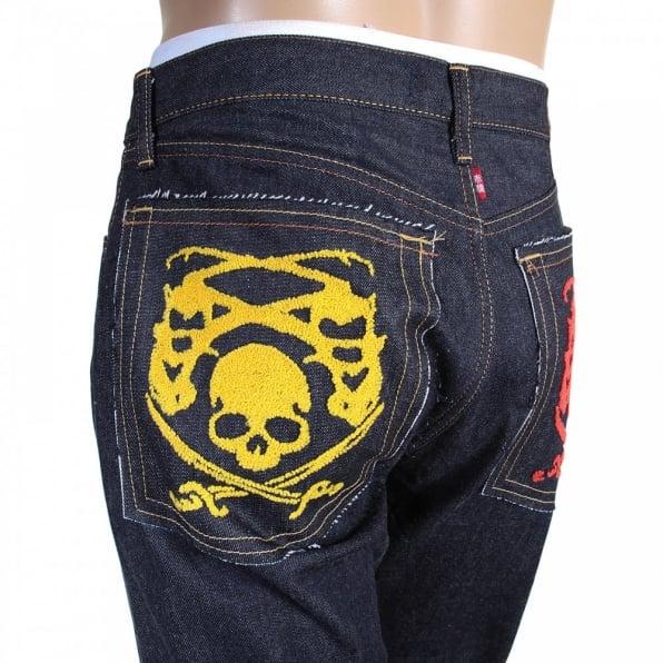RMC JEANS Mens Hand Embroidered Japanese Indigo Selvedge Raw Denim Jeans