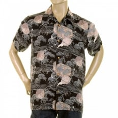 Mens Hawaiian Printed Short Sleeve Regular Fit Shirt with Single Chest Pocket