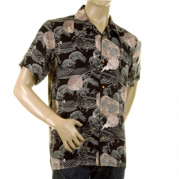 RMC JEANS Mens Hawaiian Printed Short Sleeve Regular Fit Shirt with Single Chest Pocket