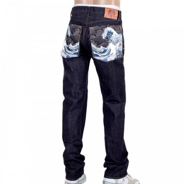 RMC JEANS Mens Indigo Japanese Selvedge Denim Jean with Embroidered Toyo Tsunami