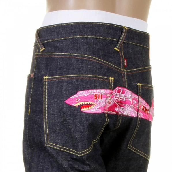 RMC JEANS Mens Indigo Slim Fit Raw Denim Jeans with Super Exclusive Pink Camo Plane Design