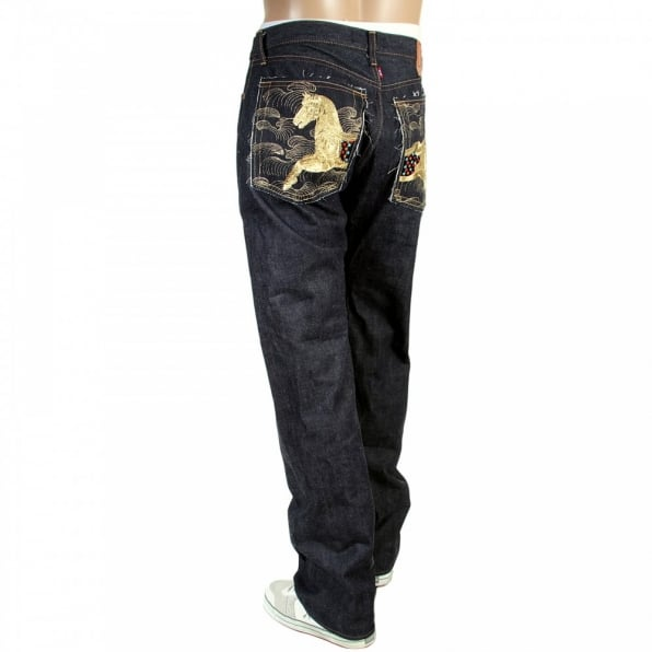 RMC JEANS Mens Japanese Indigo Selvedge Raw Denim Jeans with Gold Thread Embroidered Lucky Horse