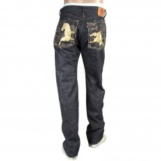 Mens Japanese Indigo Selvedge Raw Denim Jeans with Gold Thread Embroidered Lucky Horse