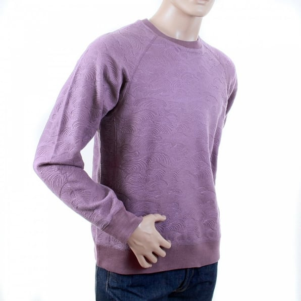 RMC JEANS Mens Lilac Large Fitting Crew Neck Sweat Shirt