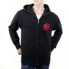 Mens Marl Grey Large Fitting Zipped Front Hooded Sweatshirt