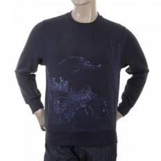 Mens Navy Large Fitting Sweat Shirt