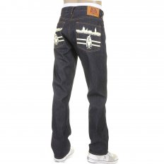 Mens New York and London Dark Indigo Raw Denim Jeans