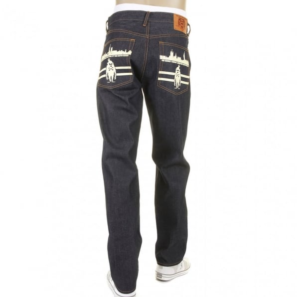 RMC JEANS Mens New York and London Dark Indigo Raw Denim Jeans