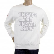 Mens off White Crew Neck Large Fitting Sweat Shirt