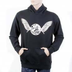 Mens Overhead Large Fitting Hooded Sweatshirt in Black