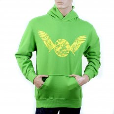 Mens Overhead Large Fitting Hooded Sweatshirt in Lime Green