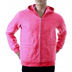 Mens Pink Large Fitting Zipped Hooded Sweatshirt