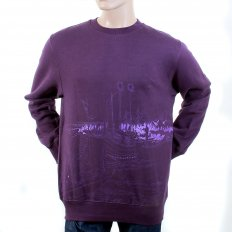 Mens Purple Large Fitting Crew Neck Sweatshirt