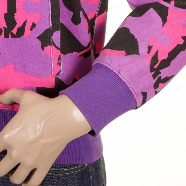 RMC JEANS Mens Purple Pink and Black Samurai Camo Hooded Regular Fit Zipped Sweatshirt