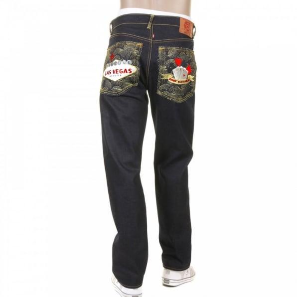 RMC JEANS Mens Selvedge Dark Indigo Raw Denim Jeans